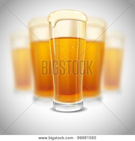 Excellent glass of lager beer with foam on blurred background. Realistic vector.