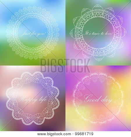Set of blured backgrounds with retro style sign. Frame  with text. Vector illustration
