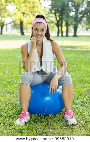 Fitness Healthy Young Woman With Pilates Ball Outdoor