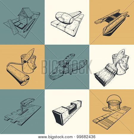 Set of nine illustrations with building tools.