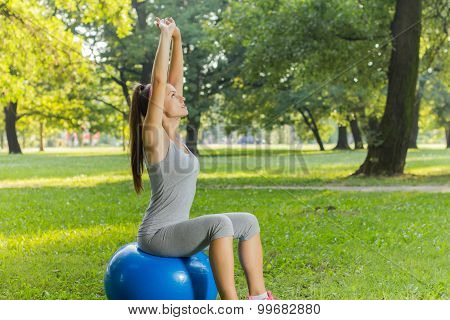 Fitness Healthy Young Woman Exercise With Pilates Ball Outdoor