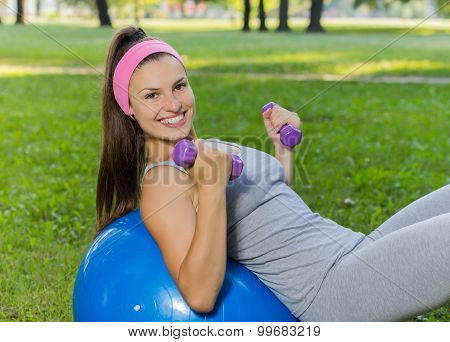 Fitness Healthy Smiling Young Woman Exercise On Pilates Ball