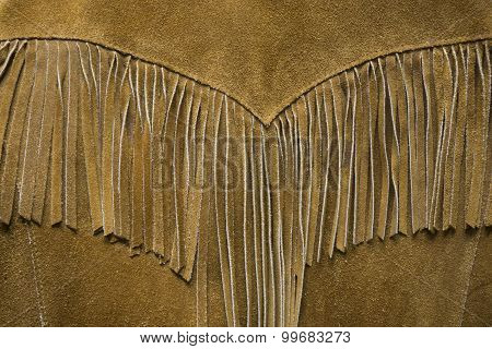 Western Leather Fringe Coat Detail