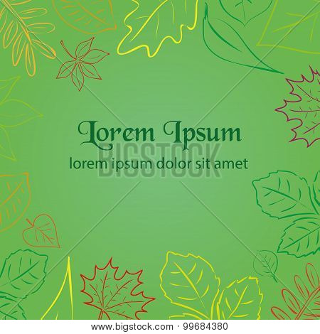 Simple Green Autumn Leaf Color Border For Your Text Eps10