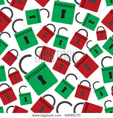Security Red And Green Padlock Seamless Pattern Eps10