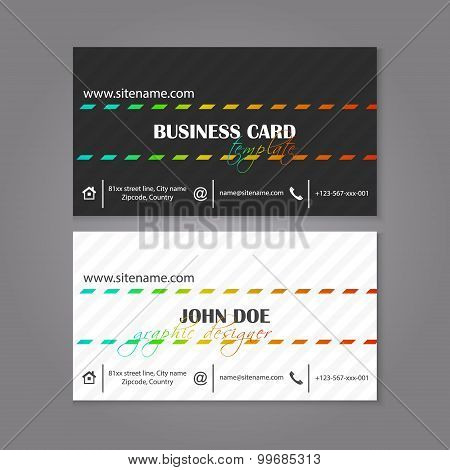 Modern black and white corporate business card template
