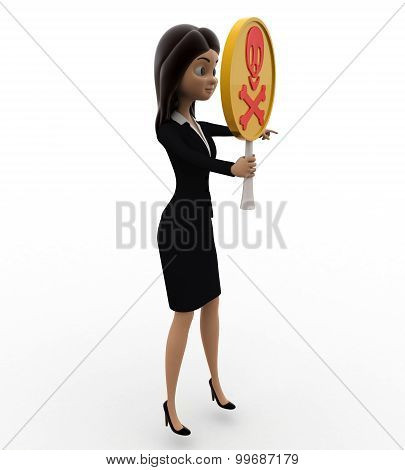 3D Woman Holding Danger Symbol In Hand Concept