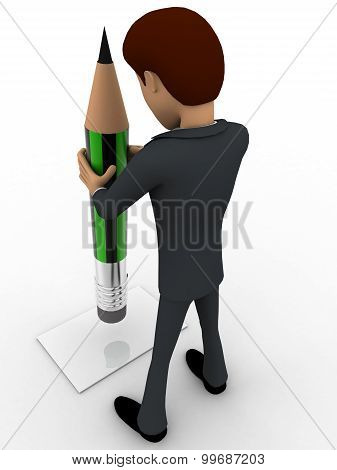 3D Man Holding Green Pencil Concept
