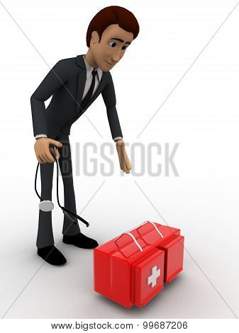 3D Man With Doctors Kit Concept