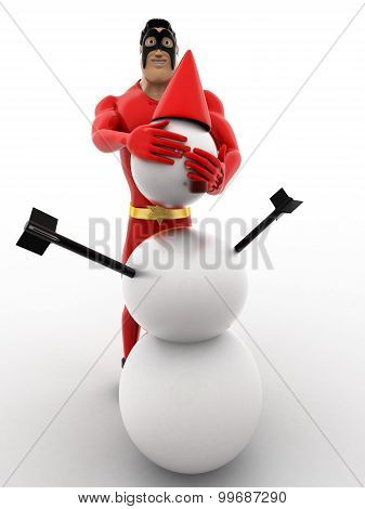3D Superhero  Making Snow Man With Snow Concept