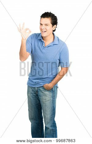 Hispanic Male Smiling Ok Hand Signal Right Blue