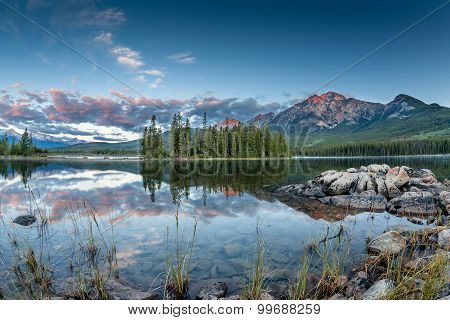 Canadian Landscape: Sunrise At Pyramid Lake In Jasper National Park