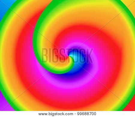 Kaleidoscope of rainbow colors swirling towards center vortex
