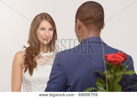 Stylish Romantic African Man With A Red Rose
