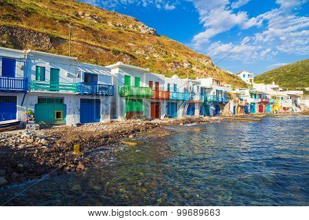 Pictoresque Klima town Milos island Cyclades Aegean Greece