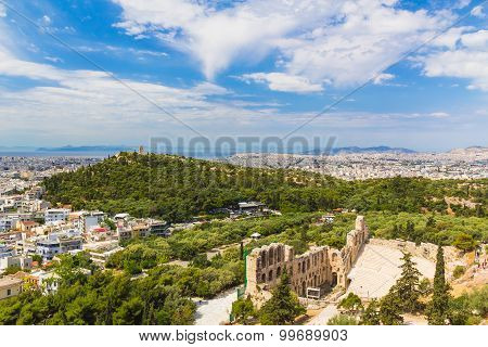 Acropolis View To Philopappos Hill, Athens, Greece