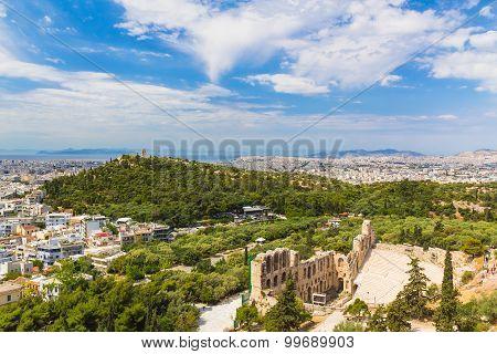 Acropolis View To Philopappos Hill, Athens, Greece