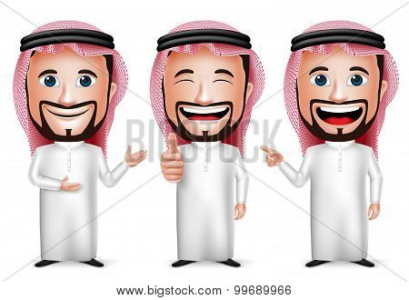 3D Realistic Saudi Arab Man Cartoon Character with Different Pose