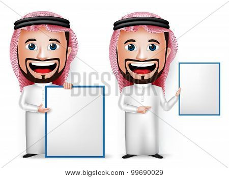 3D Realistic Saudi Arab Man Cartoon Character Showing Blank White Board