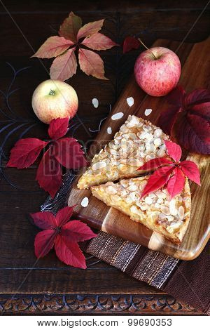 Apple Pie And Autumn Colorful Leaves