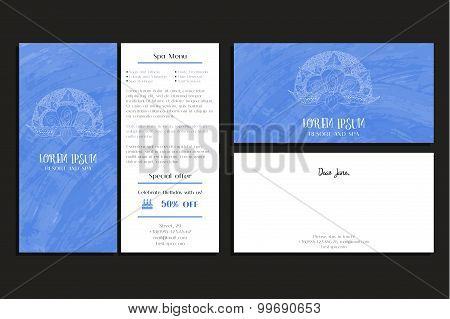 Corporate business brochure, greeting card for company, resort and spa.