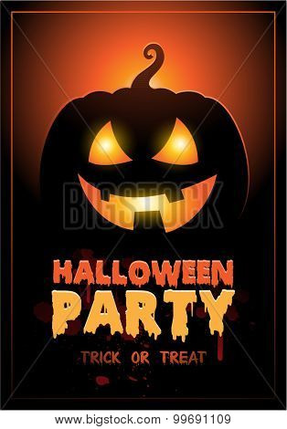 Halloween Party Design template background with pumpkin and place for text