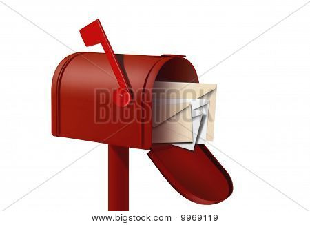 Red Mail Box And Envalopes
