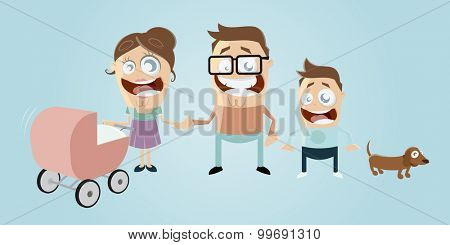 funny cartoon family with dog