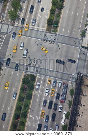 New york traffic aerial view of streets