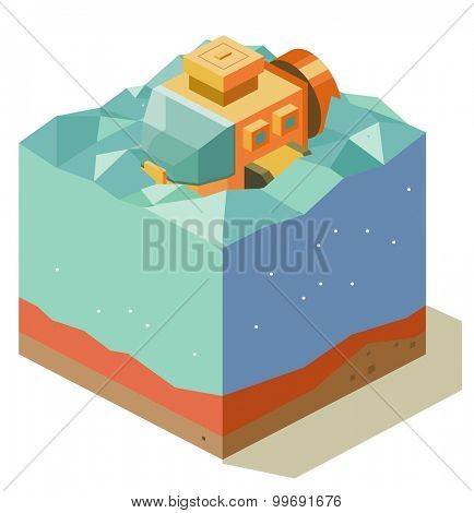 Underwater exploration with submarine. isometric art