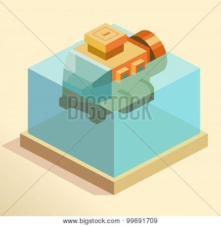 Small Submarine Test. isometric art