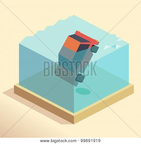 Drowning car claim. isometric art
