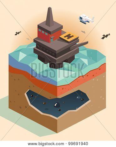 Offshore oil rig. isometric art