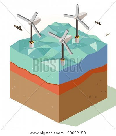 offshore Wind farm. isometric art