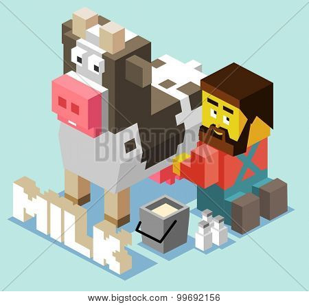 Fresh Cow milk. isometric art