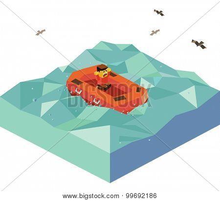 Floating Emergency Boat. isometric art