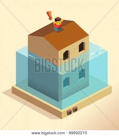 Disaster Flooding house. isometric art