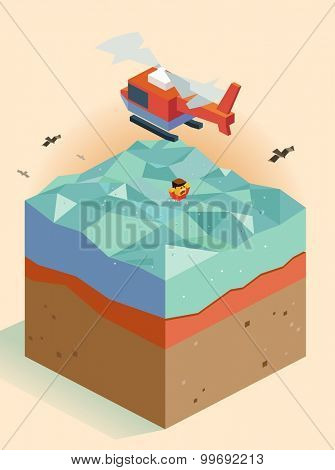 Helicopter rescues a victim at sea. isometric art