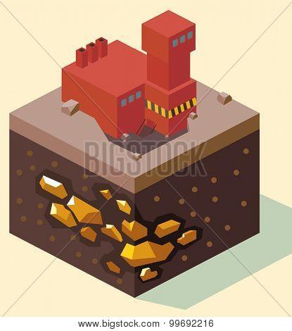 Red Gold Mine. isometric art