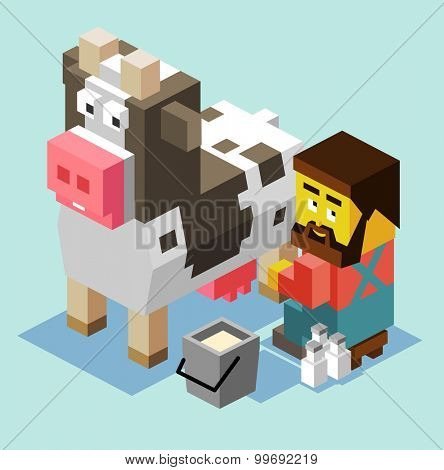 Milking a cow. isometric art