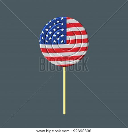 Lollipop With American Flag. Usa Caramel Candy. Patriotic Sweetness. Vector Illustration Of Food For