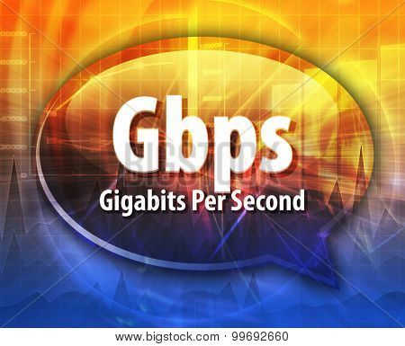 Speech bubble illustration of information technology acronym abbreviation term definition Gbps Gigabits per second