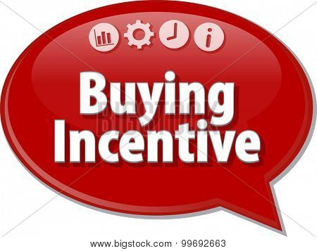 Speech bubble dialog illustration of business term saying Buying Incentive