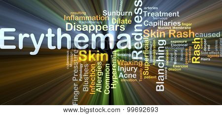 Background concept wordcloud illustration of erythema glowing light