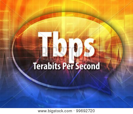 Speech bubble illustration of information technology acronym abbreviation term definition Tbps Terabits per second