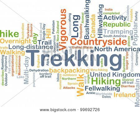 Background concept wordcloud illustration of trekking