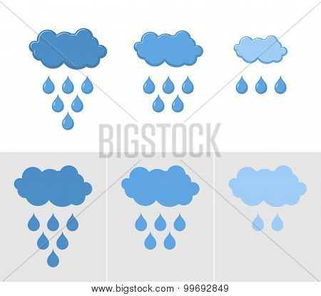 Clouds And Rain. Set Of Icons For Rain. Vector Illustration For Weather