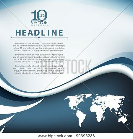 eps10 vector wave bent lines world map elements frame corporate business background