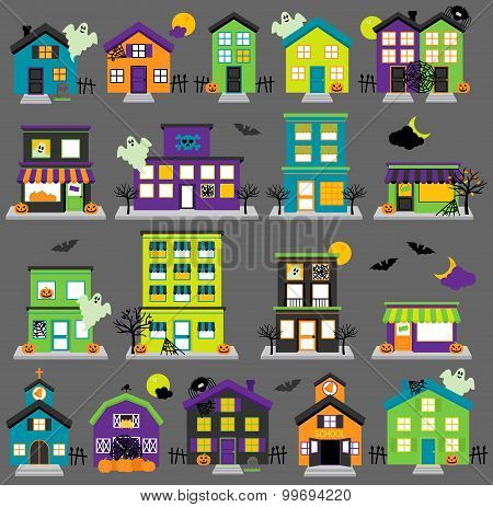 Vector Halloween Town with Haunted Houses, Shops, School, Church and Buildings