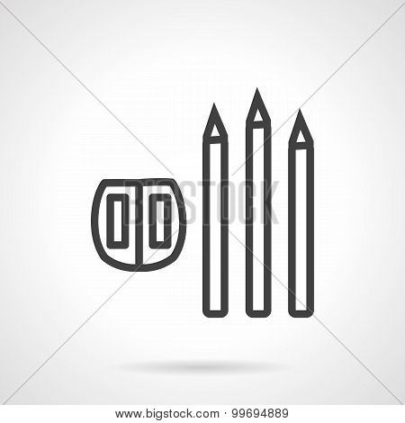 Line vector icon for pencil and sharpener